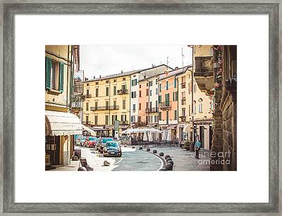 Porretta Terme, Italy - August 2, 2015 - Colorful Buildings Vintage Bologna  Framed Print by Luca Lorenzelli