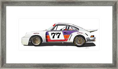 Porsche 1977 Rsr Illustration Framed Print by Alain Jamar