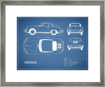 Porsche 356 C Blueprint Framed Print by Mark Rogan