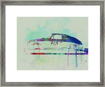 Porsche 356 Watercolor Framed Print by Naxart Studio