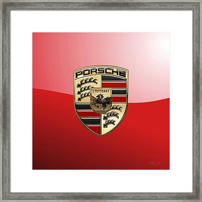 Porsche - 3d Badge On Red Framed Print by Serge Averbukh