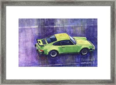 Porsche 911 Turbo Green Framed Print by Yuriy  Shevchuk
