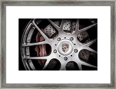 Porsche Wheel Emblem -1323ac Framed Print by Jill Reger