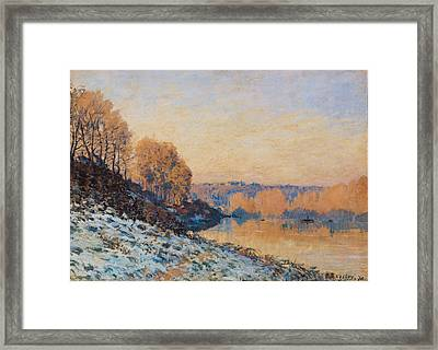 Port Marly White Frost Framed Print by Alfred Sisley