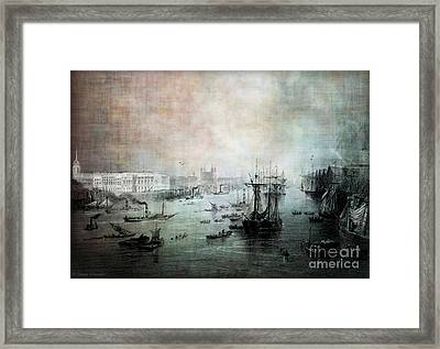Port Of London - Circa 1840 Framed Print by Lianne Schneider