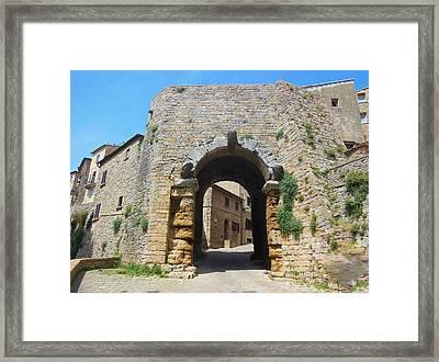 Porta All' Arco Volterra Framed Print by Marilyn Dunlap