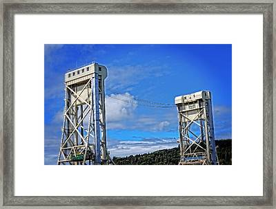 Portage Lake Bridge Houghton Hancock By Sharon Cummings  Framed Print by Sharon Cummings