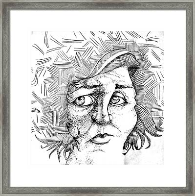 Portait Of A Woman Framed Print by Michelle Calkins