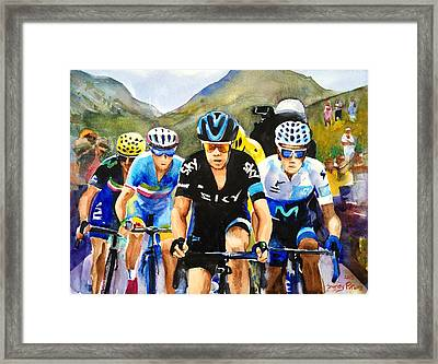 Porte Quintana Froome And Nibali Framed Print by Shirley Peters