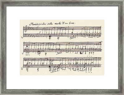 Portion Of The Manuscript Of Beethoven's A Flat Major Sonata, Opus 26 Framed Print by Beethoven