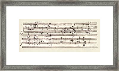 Portion Of The Manuscript Of Beethoven's Sonata In A, Opus 101 Framed Print by Beethoven