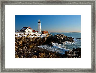 Portland Head Light - Lighthouse Seascape Landscape Rocky Coast Maine Framed Print by Jon Holiday