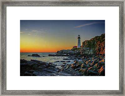 Portland Head Light At Dawn Framed Print by Rick Berk