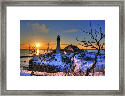 Portland Head Light Sunrise - Maine Framed Print by Joann Vitali