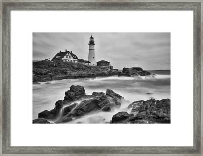 Portland Head Monochrome Framed Print by Darren White