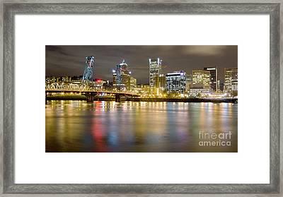 Portland Oregon Skyline Reflections Framed Print by Dustin K Ryan