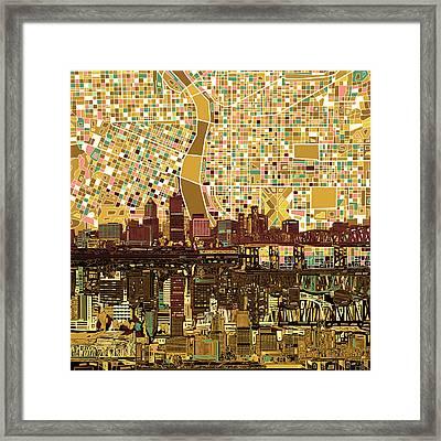 Portland Skyline Abstract 9 Framed Print by Bekim Art