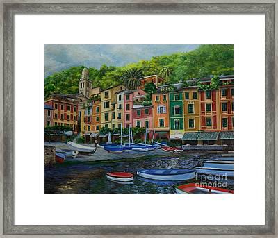 Portofino Harbor Framed Print by Charlotte Blanchard