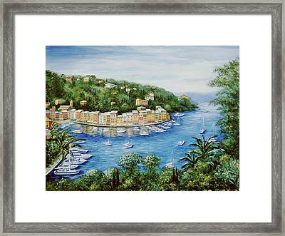 Portofino Majestic Panoramic View Framed Print by Marilyn Dunlap