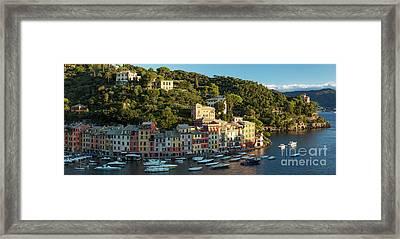 Portofino Morning Panoramic Framed Print by Brian Jannsen