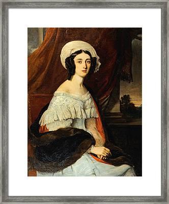 Portrait D'eugenie Gabrielle Barbou Des Courieres. Baronne Rivet Framed Print by Alexandre-Marie Colin