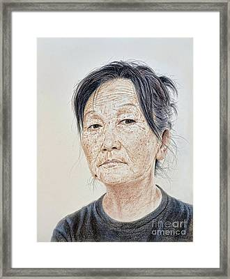 Portrait Of A Chinese Woman With A Mole On Her Chin Framed Print by Jim Fitzpatrick