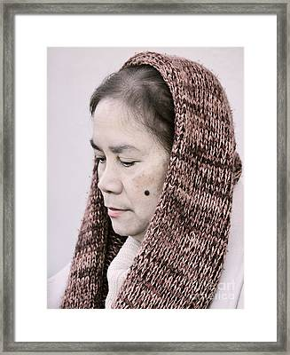 Portrait Of A Filipina With A Mole On Her Cheek And Wearing A Knitted Scarf  Framed Print by Jim Fitzpatrick