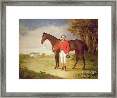 Portrait Of A Gentleman With His Horse Framed Print by English School