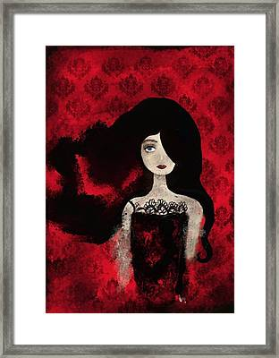 Portrait Of A Lady Amidst A Red Damask Background Framed Print by Yazmin Basa