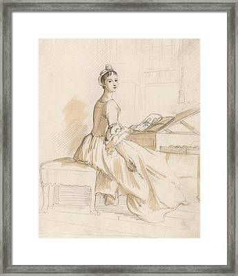 Portrait Of A Lady At A Drawing Table Framed Print by Paul Sandby