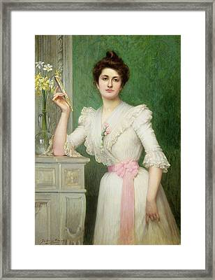 Portrait Of A Lady Holding A Fan Framed Print by Jules-Charles Aviat