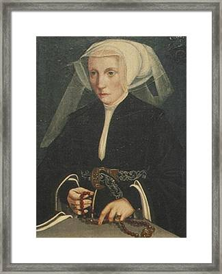 Portrait Of A Lady Holding Framed Print by MotionAge Designs