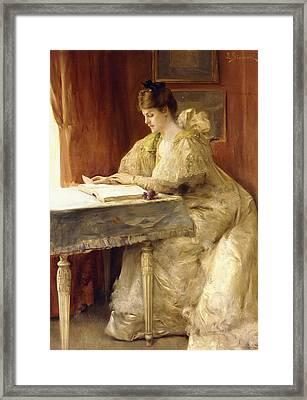 Portrait Of A Lady Framed Print by Julius Leblanc Stewart
