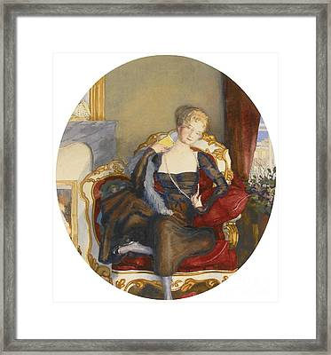 Portrait Of A Lady Framed Print by Konstantin Andreevich Somov