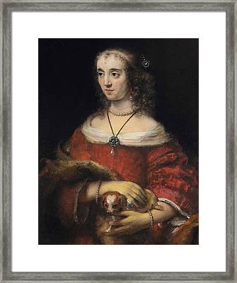 Portrait Of A Lady With A Lap Dog Framed Print by Rembrandt
