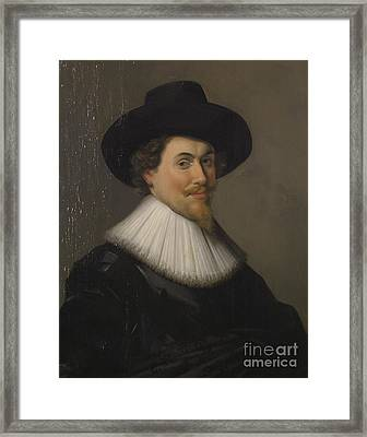 Portrait Of A Man In Black Framed Print by Frans Hals