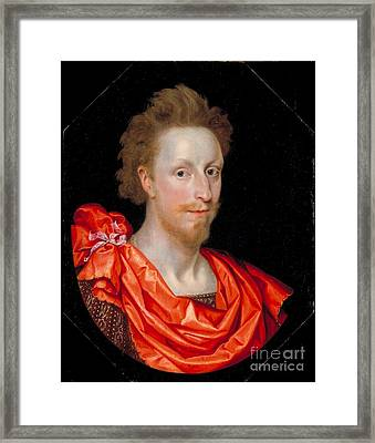 Portrait Of A Man In Classical Dress Framed Print by Marcus Gheeraerts