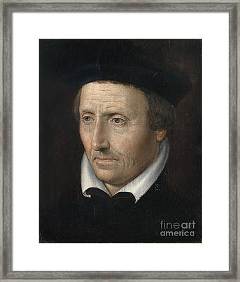 Portrait Of A Man With White Collar Framed Print by Celestial Images