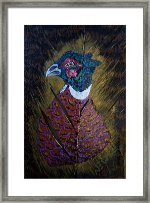 Portrait Of A Ringneck Framed Print by Chris Newell