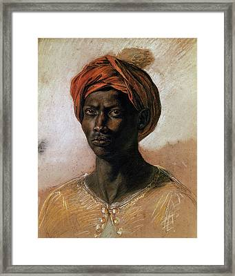Portrait Of A Turk In A Turban Framed Print by Ferdinand Victor Eugene Delacroix