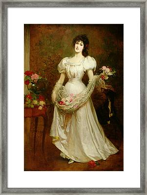 Portrait Of A Woman And Her Greyhound Framed Print by English School