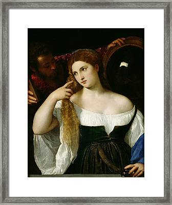 Portrait Of A Woman At Her Toilet Framed Print by Titian
