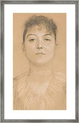 Portrait Of A Woman Framed Print by Gustav Klimt