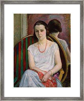 Portrait Of A Woman Framed Print by Henri Lebasque