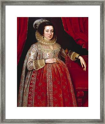 Portrait Of A Woman In Red Framed Print by MotionAge Designs