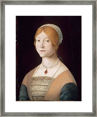 Portrait Of A Woman With A Pearl  Framed Print by MotionAge Designs