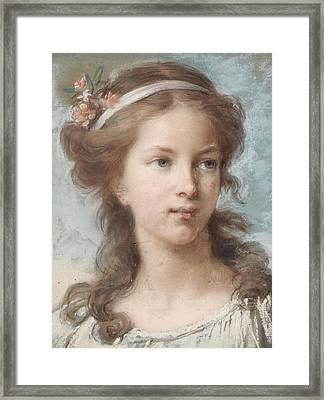 Portrait Of A Young Girl Framed Print by Elisabeth Louise