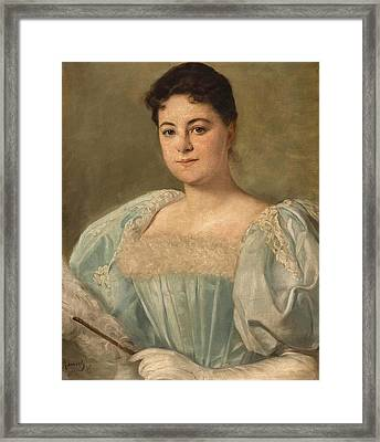 Portrait Of A Young Lady With Ostrich Feather Fan Framed Print by MotionAge Designs