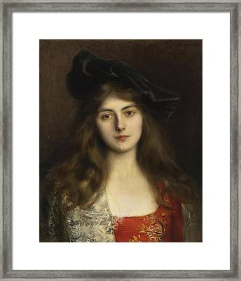 Portrait Of A Young Woman Framed Print by Celestial Images