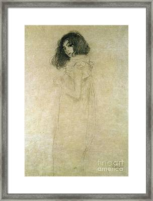 Portrait Of A Young Woman Framed Print by Gustav Klimt
